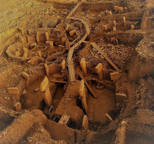 An aerial/overhead view of the stone circles at Göbekli Tepe
